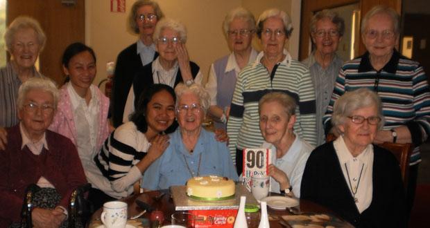 Sr. Helen Reynolds celebrating her 90th  birthday