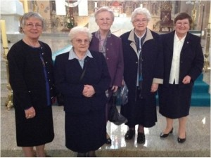 RNDMs  were represented by on the left: Margaret Doherty, Cecilia Cleary, Regina McCullagh, Mary Kelly and Mary Toner