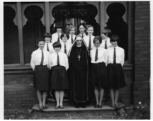 Year 10 Exam Class, 1965 – Oaklands Sr Maria Roche (d. 2006) as Headmistress to be replaced by Sr Rose Hughes (1966)