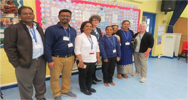 Teachers from Bangladesh and India with Mrs Jane Smith, Headmistress of St Mary, Star of the Sea Primary School, St Leonards