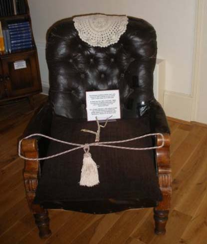 Euphrasie's chair  - Here she sat during   the last days and ours  of her life.